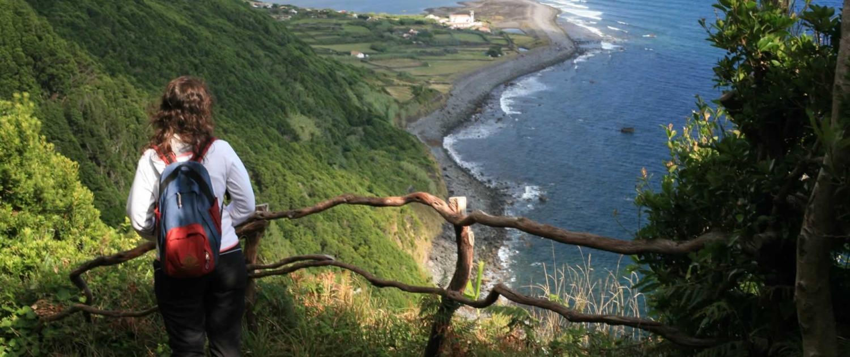 Vue panoramique sur Fajã Caldeira Do Santo Cristo, petites plateformes plates résultant de l'érosion de la roche, île de São Jorge