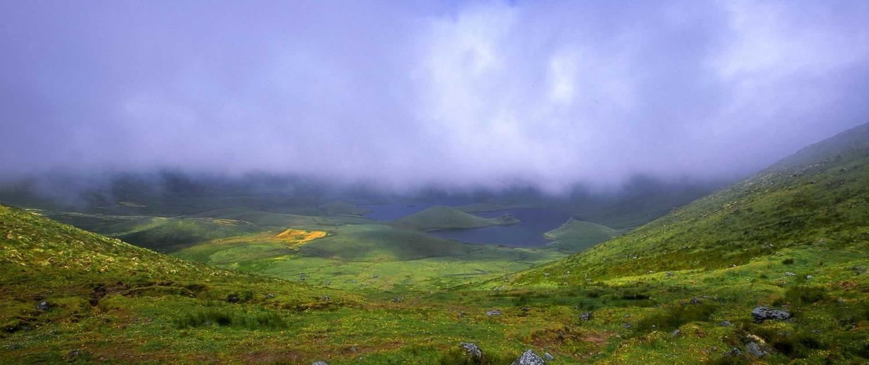 Cratère volcanique Caldeirão: forme elliptique, diamètre maximum de 2,3 km, profondeur de 305 m.
