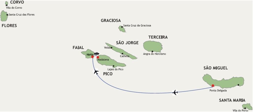Archipel des Açores Circuit des 3 îles - 8 jours, São Miguel-Faial-Pico